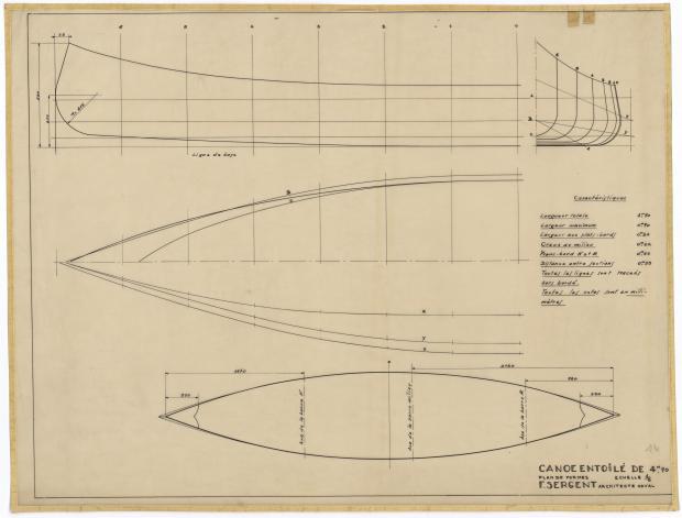 PLAN DE COQUE - CANOE ENTOILE (1944)