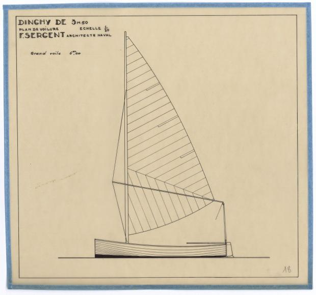 PLAN DE VOILURE/GREEMENT - DINGHY DE 3,5 M (1945)