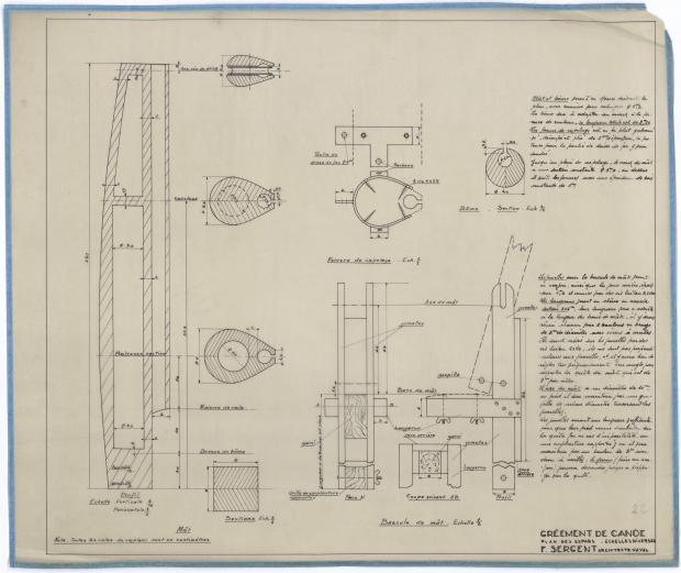 PLAN DE VOILURE/GREEMENT - CANOE DE CROISIERE (1945)