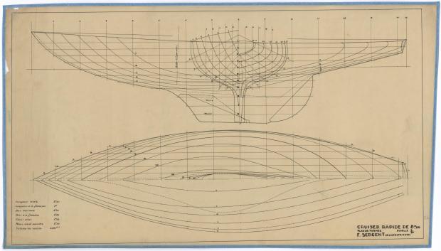 PLAN DE COQUE - CRUISER RAPIDE DE 8,5 M (1946)