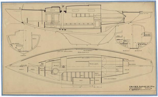 PLAN D'AMENAGEMENT  - CRUISER RAPIDE DE 8,5 M (1946)