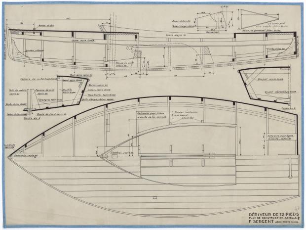 PLAN DE CONSTRUCTION - DERIVEUR DE 12 PIEDS (1946)