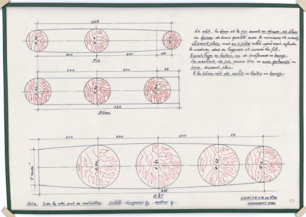 PLAN DE VOILURE/GREEMENT - DERIVEUR DE 12 PIEDS (1946)