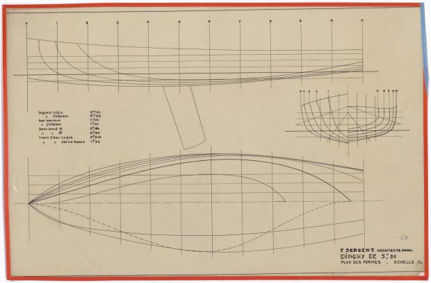 PLAN DE COQUE - DINGHY 5, 50 M (1947)