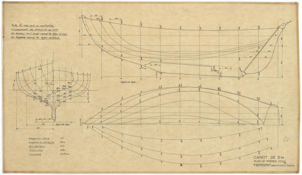 PLAN DE COQUE - CANOT DE 5 M (1947)