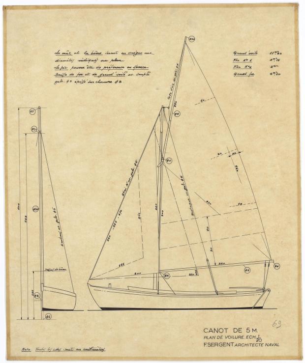 PLAN DE VOILURE/GREEMENT - CANOT DE 5 M (1947)