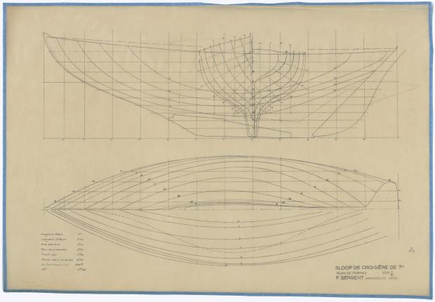 PLAN DE COQUE - SLOOP DE CROISIERE DE 7M (1947)