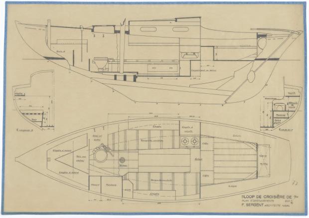 PLAN D'AMENAGEMENT  - SLOOP DE CROISIERE DE 7M (1947)