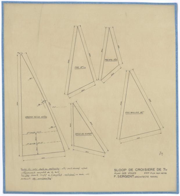 PLAN DE VOILURE/GREEMENT - SLOOP DE CROISIERE DE 7M (1947)