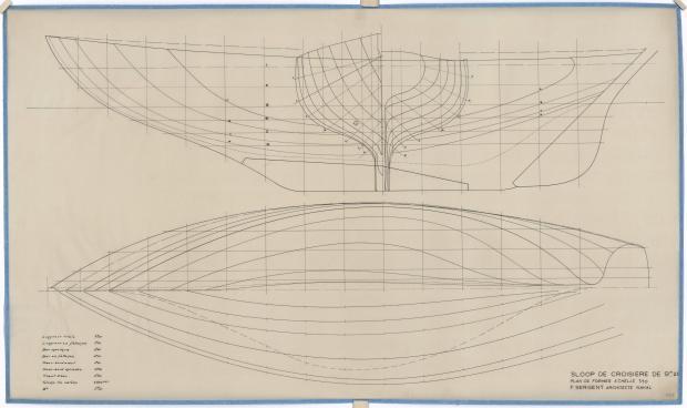 PLAN DE COQUE - SLOOP DE CROISIERE 9,25 M (1950)