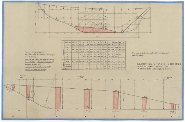 PLAN DE DERIVE/QUILLE - SLOOP DE CROISIERE 9,25 M (1950)