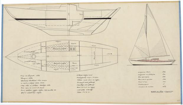 PLAN D'AMENAGEMENT  - SLOOP DE CROISIERE 9,25 M (1950)