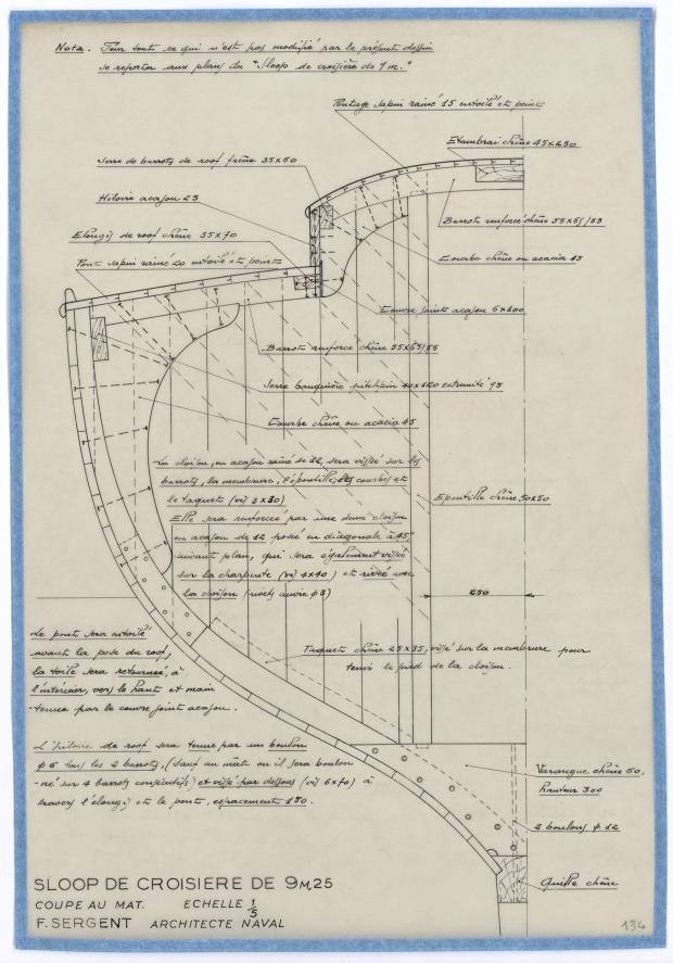 PLAN DE CONSTRUCTION - SLOOP DE CROISIERE 9,25 M (1950)
