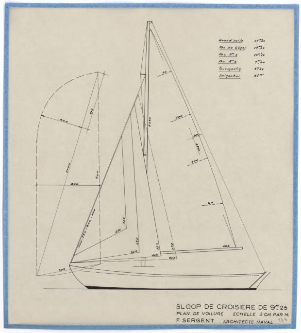 PLAN DE VOILURE/GREEMENT - SLOOP DE CROISIERE 9,25 M (1950)