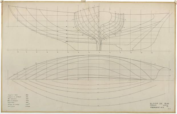 PLAN DE COQUE - Sloop de 8,50 M (1951)