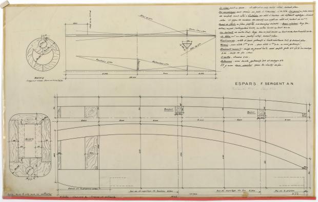 PLAN DE VOILURE/GREEMENT - Sloop de 8,50 M (1951)