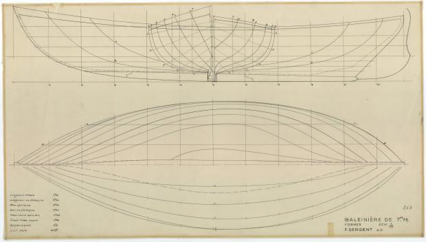 PLAN DE COQUE - BALEINIERE 7,75 M NIDJOUM (1952)