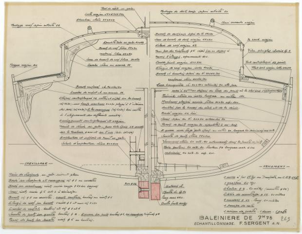 PLAN DE CONSTRUCTION - BALEINIERE 7,75 M NIDJOUM (1952)