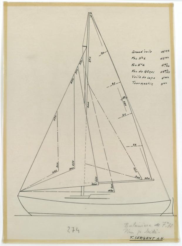 PLAN DE VOILURE/GREEMENT - BALEINIERE 7,75 M NIDJOUM (1952)
