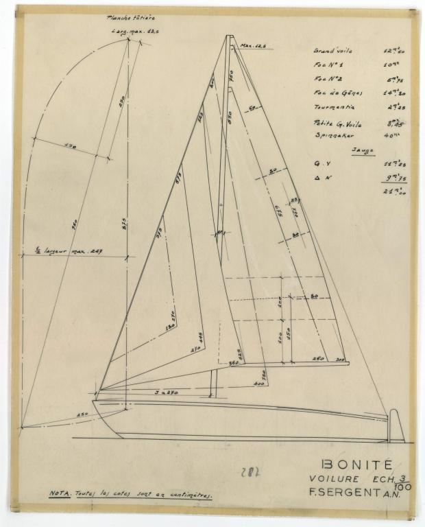 PLAN DE VOILURE/GREEMENT - BONITE  (1952)