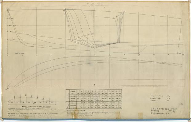 PLAN DE COQUE - VEDETTE 7,50 M (1952)