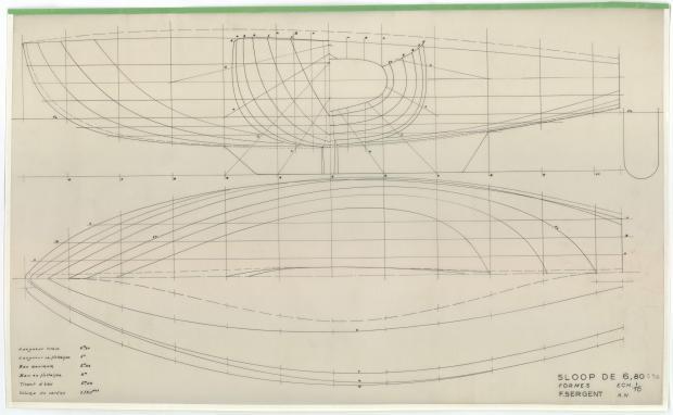 PLAN DE COQUE - PHRYNE SLOOP DE 6,80 M (1953)