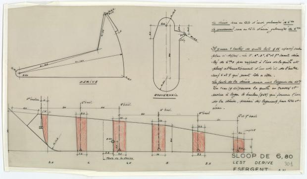 PLAN DE DERIVE/QUILLE - PHRYNE SLOOP DE 6,80 M (1953)