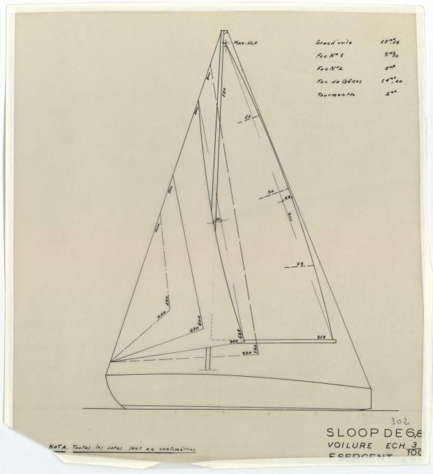 PLAN DE VOILURE/GREEMENT - PHRYNE SLOOP DE 6,80 M (1953)