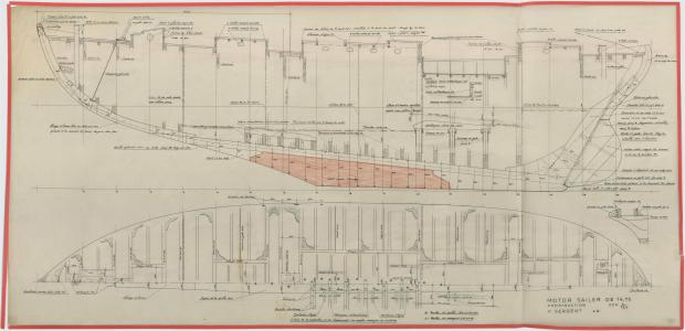 PLAN DE CONSTRUCTION - OISEAU BLEU, Motor sailer 14,75 M (1953)