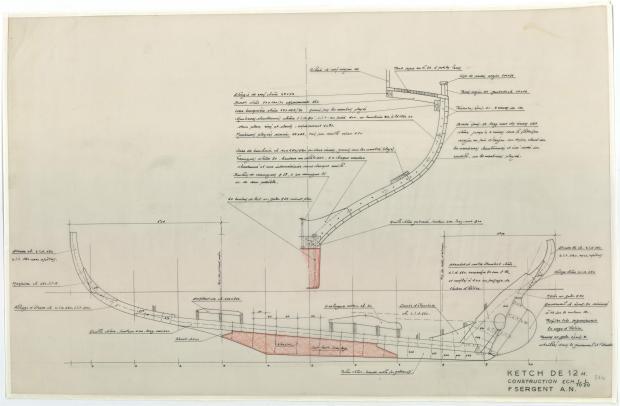 PLAN DE CONSTRUCTION - Reder-mor, ketch 12,00m (1953)