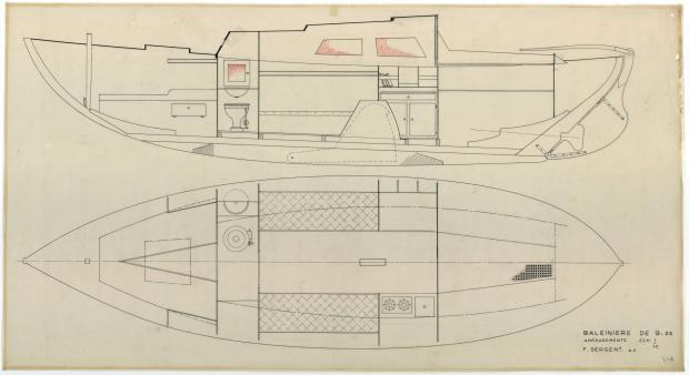 PLAN D'AMENAGEMENT  - St Michaël balenière de 9.25 m (1954)