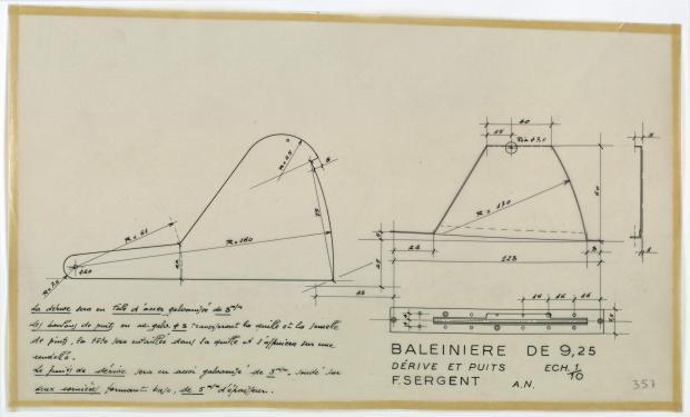 PLAN DE DERIVE/QUILLE - St Michaël balenière de 9.25 m (1954)