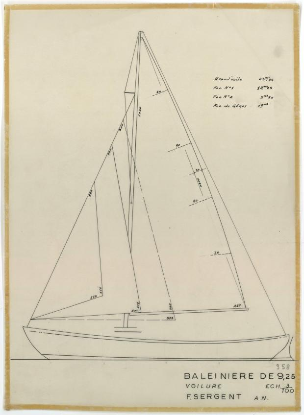 PLAN DE VOILURE/GREEMENT - St Michaël balenière de 9.25 m (1954)