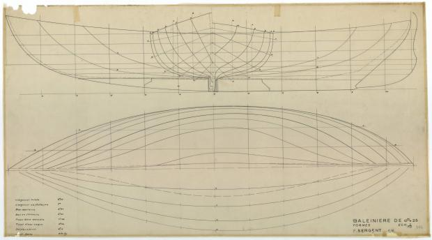 PLAN DE COQUE - Baleinière de 8,25 M (1954)
