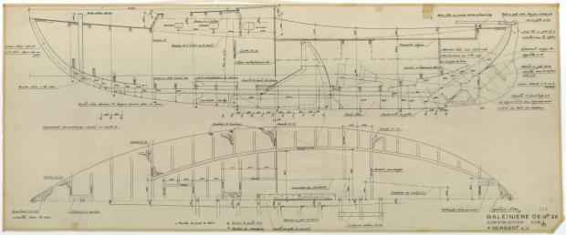 PLAN DE CONSTRUCTION - Baleinière de 8,25 M (1954)