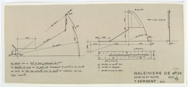 PLAN DE DERIVE/QUILLE - Baleinière de 8,25 M (1954)