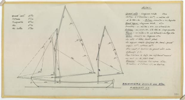 PLAN DE VOILURE/GREEMENT - Baleinière de 8,25 M (1954)