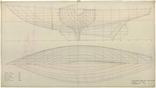PLAN DE COQUE - Guendalina 10,50 m (1954)