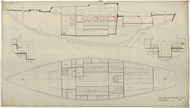 PLAN D'AMENAGEMENT  - Guendalina 10,50 m (1954)