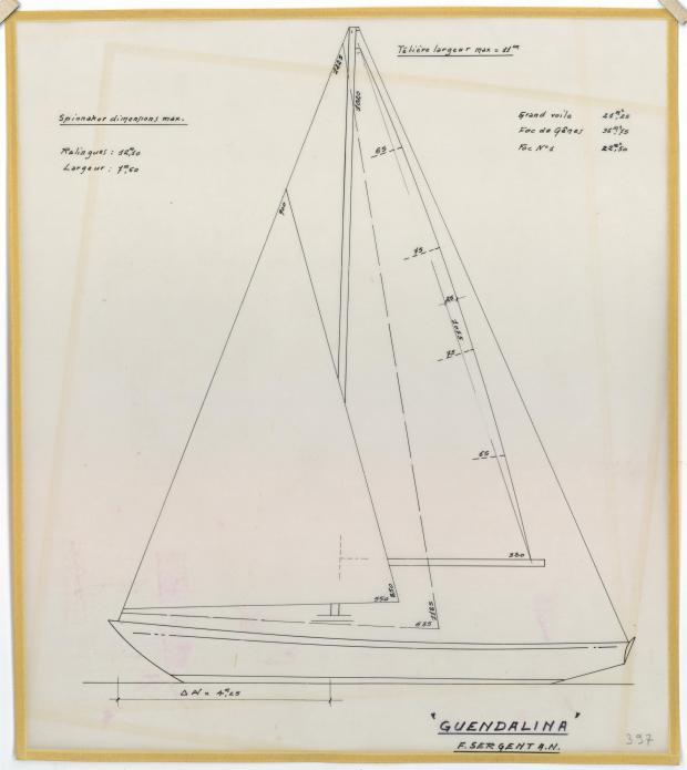 PLAN DE VOILURE/GREEMENT - Guendalina 10,50 m (1954)
