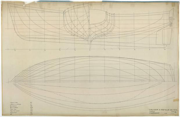 PLAN DE COQUE - Cruiseur à moteur 10,00 m (1954)
