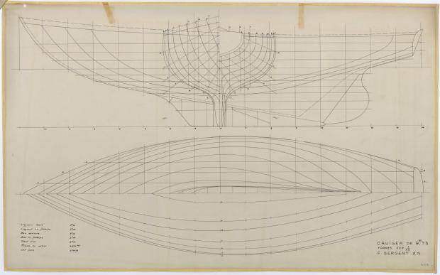 PLAN DE COQUE - Iris   Sloop croisière 9,75 m (1954)