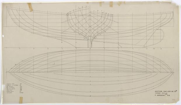 PLAN DE COQUE - Motor Sailer 13 m (1955)