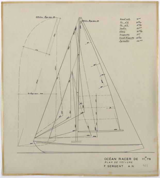 PLAN DE VOILURE/GREEMENT - GEFREL OCEAN RACER 11,75 M (1955)