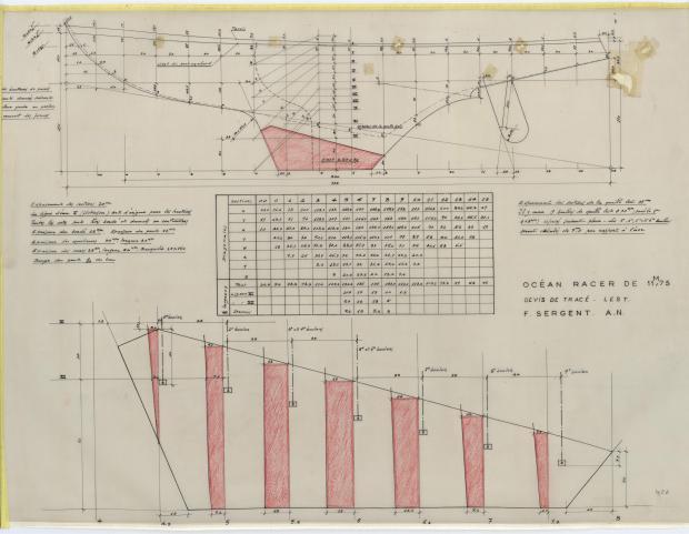 PLAN DE CONSTRUCTION - GEFREL OCEAN RACER 11,75 M (1955)