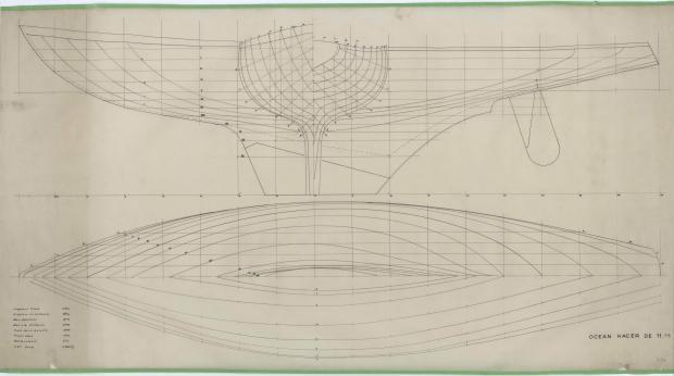 PLAN DE COQUE - GEFREL OCEAN RACER 11,75 M (1955)
