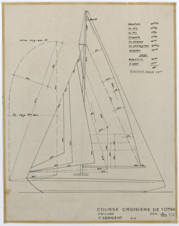PLAN DE VOILURE/GREEMENT - GELINOTTE  COURSE CROISIERE 10,50 M (1955)