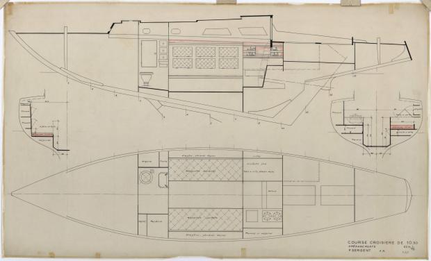 PLAN D'AMENAGEMENT  - GELINOTTE  COURSE CROISIERE 10,50 M (1955)
