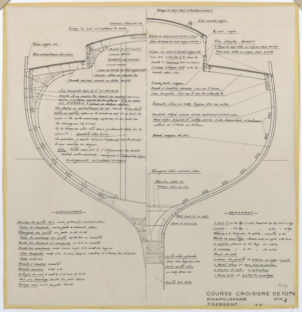 PLAN DE CONSTRUCTION - GELINOTTE  COURSE CROISIERE 10,50 M (1955)