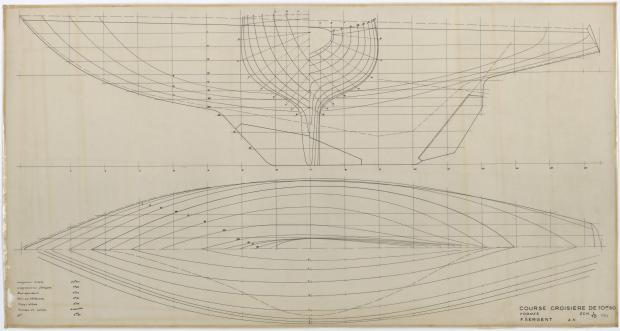 PLAN DE COQUE - GELINOTTE  COURSE CROISIERE 10,50 M (1955)
